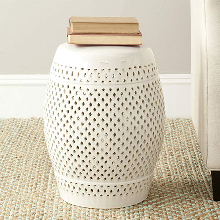 5. Safavieh Castle Diamonds Cream Garden Stool