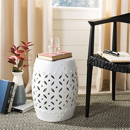 8. Safavieh Castle Gardens Lattice Coin Ceramic Stool