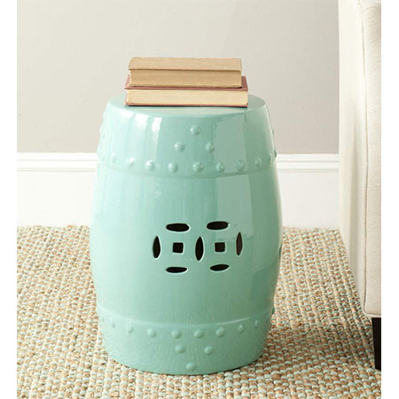 7. Safavieh Castle Gardens Modern Ming Light Aqua Stool