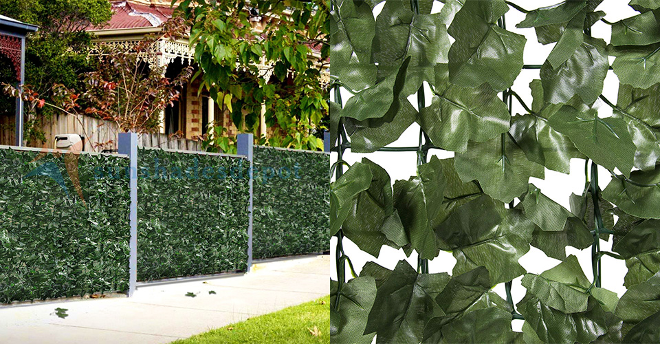 Windscreen4less Artificial Faux Ivy Leaf Decorative Fence Screen 6 x 12 Ivy