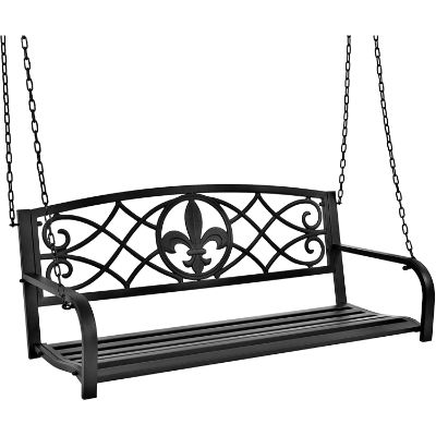 5. Best Choice Products Metal Fleur-De-Lis Hanging Patio Porch Swing