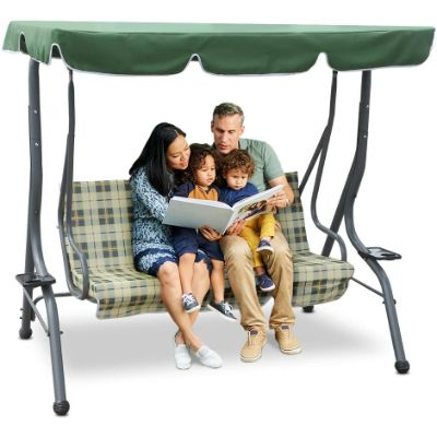 4. Zupapa 3-Person Steel Porch Canopy Swing